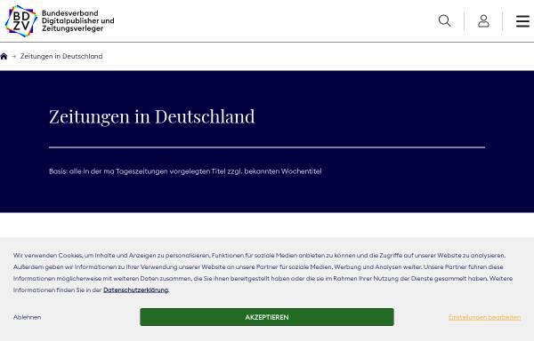 Vorschau von www.bdzv.de, Zeitungen im Web