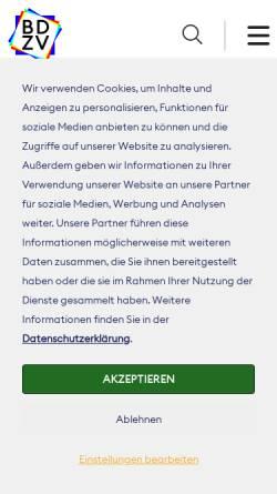Vorschau der mobilen Webseite www.bdzv.de, Zeitungen im Web