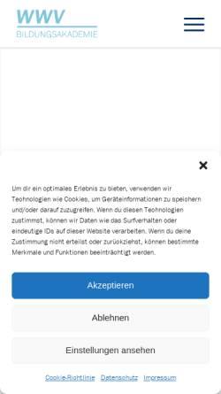 Vorschau der mobilen Webseite www.wwv-online.de, WWV - Private Weiterbildungsakademie für Wirtschaft und Verwaltung gGmbH
