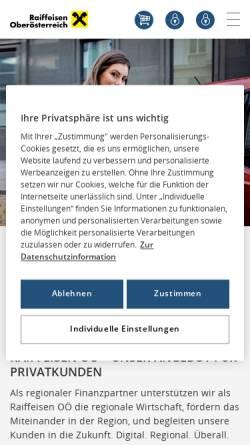 Vorschau der mobilen Webseite www.raiffeisen-ooe.at, Raiffeisenlandesbank Oberösterreich Aktiengesellschaft