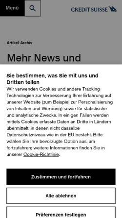 Vorschau der mobilen Webseite www.credit-suisse.com, Credit Suisse Group