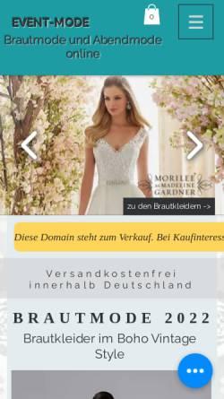 Vorschau der mobilen Webseite www.event-mode.de, Event-Mode, Angela Kaaz