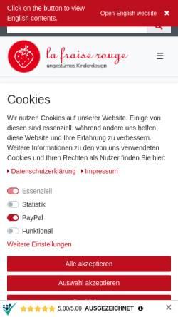 Vorschau der mobilen Webseite www.lafraiserouge.de, la fraise rouge, Ariane Dykiert