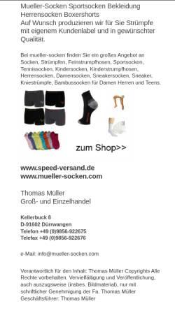 Vorschau der mobilen Webseite www.mueller-socken.com, Mueller-Socken.com, Thomas Müller