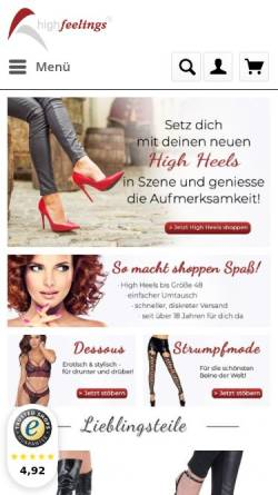Vorschau der mobilen Webseite www.high-feelings.de, High Feelings, Claudia Liebold und Frank Lehmann GbR