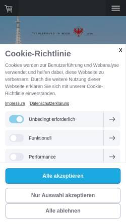 Vorschau der mobilen Webseite www.tirolerbund.eu, Tirolerbund - Verein der Tiroler in Wien