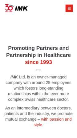 Vorschau der mobilen Webseite www.imk.ch, IMK Institut für Medizin und Kommunikation AG