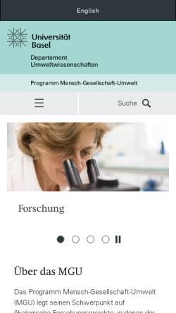 Vorschau der mobilen Webseite www.unibas.ch, MGU - Mensch Gesellschaft Umwelt