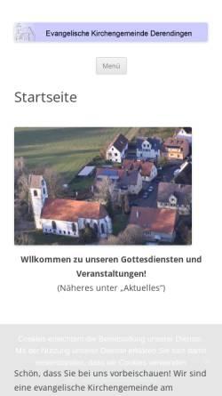 Vorschau der mobilen Webseite www.ev-kirche-derendingen.de, CVJM und evangelische Kirchengemeinde Derendingen
