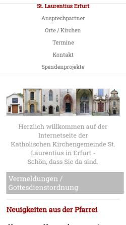 Vorschau der mobilen Webseite www.schotten-erfurt.de, Katholisches Pfarramt St. Nicolai und Jacobi