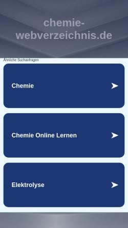 Vorschau der mobilen Webseite www.chemie-webverzeichnis.de, [de.sci.chemie] Webverzeichnis