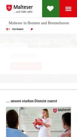 Vorschau der mobilen Webseite www.malteser-bremen.de, Landesgeschäftsstelle Bremen