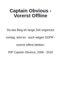 Vorschau der mobilen Webseite captain-obvious.de, May, David
