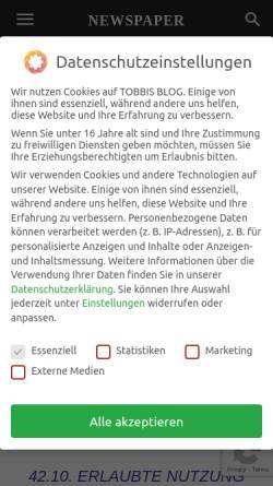 Vorschau der mobilen Webseite www.tobbis-blog.de, Tobbis Blog