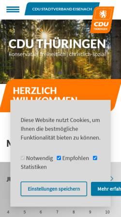 Vorschau der mobilen Webseite www.cdu-eisenach.de, CDU Eisenach