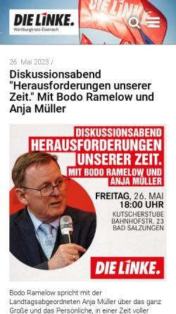 Vorschau der mobilen Webseite www.die-linke-wartburgkreis.de, Die Linke. Kreisverband Wartburgkreis