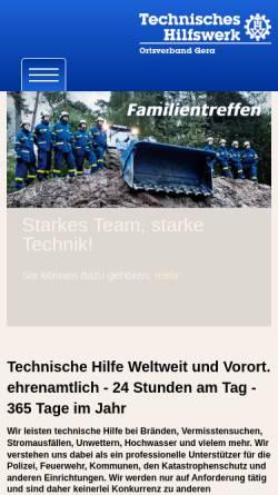 Vorschau der mobilen Webseite www.thw-gera.de, THW-Ortsverband Gera