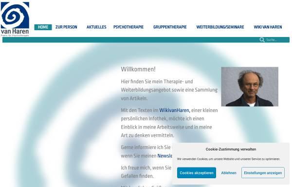 Vorschau von www.psychotherapie-vanharen.de, Dr. phil. Dipl. Psych. Werner van Haren