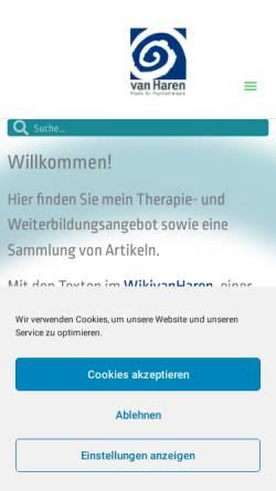 Vorschau der mobilen Webseite www.psychotherapie-vanharen.de, Dr. phil. Dipl. Psych. Werner van Haren