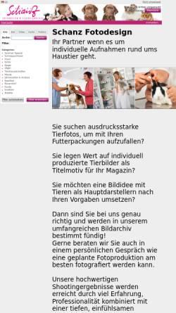 Vorschau der mobilen Webseite www.schanz-fotodesign.de, Schanz Fotodesign und Tierbildarchiv