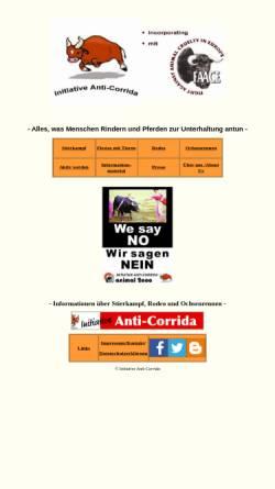 Vorschau der mobilen Webseite www.anti-corrida.de, Initiative Anti-Corrida