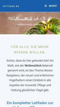 Vorschau der mobilen Webseite www.sittiche.de, Wellensittich ABC