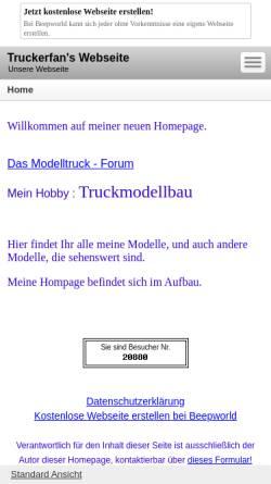 Vorschau der mobilen Webseite truckerfan.beepworld.de, private Homepage Truckmodellbau
