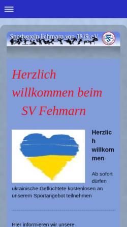 Vorschau der mobilen Webseite www.svfehmarn.de, Sportverein Fehmarn von 1879 e.V.
