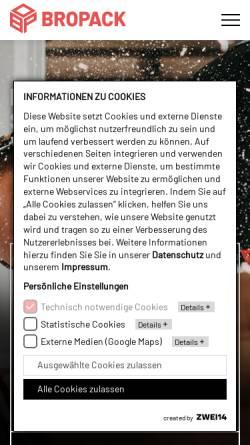 Vorschau der mobilen Webseite www.bropack.de, Bropack Bronner Packmittel KG