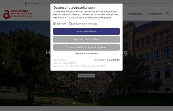 Vorschau von www.hs-anhalt.de, Hochschule Anhalt (FH)