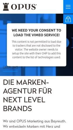 Vorschau der mobilen Webseite www.opus-marketing.de, Opus Marketing GmbH - Full Service Werbeagentur