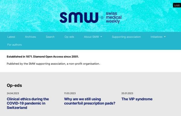 Vorschau von www.smw.ch, Schweizerische Medizinische Wochenschrift