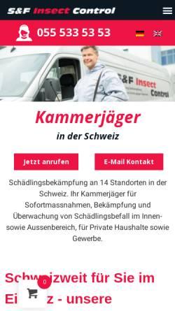Vorschau der mobilen Webseite www.kammerjaeger.ch, Hostettler Schädlingsbekämpfung