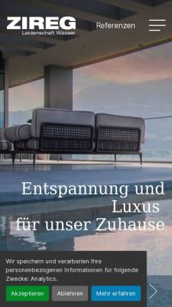 Vorschau der mobilen Webseite zireg.ch, ZIREG Ziswiler GmbH
