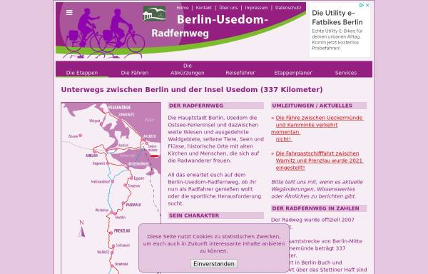 Vorschau von www.berlin-usedom-radweginfo.de, Radwege zwischen Berlin und Usedom