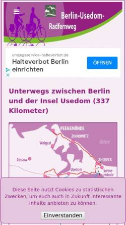 Vorschau der mobilen Webseite www.berlin-usedom-radweginfo.de, Radwege zwischen Berlin und Usedom