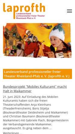 Vorschau der mobilen Webseite www.laprofth.de, Landesverband professioneller Theater Rheinland-Pfalz e. V.