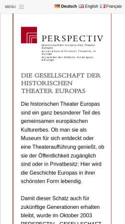Vorschau der mobilen Webseite www.perspectiv-online.org, Perspectiv – Gesellschaft der historischen Theater Europas