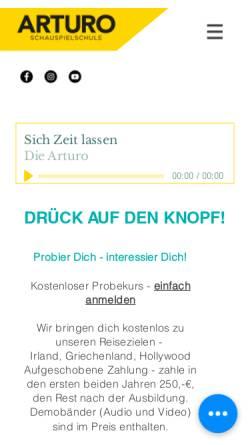 Vorschau der mobilen Webseite www.arturo-schauspielschule.de, Arturo Schauspielschule