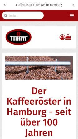 Vorschau der mobilen Webseite www.kaffee-timm.de, Kaffeeröster Timm