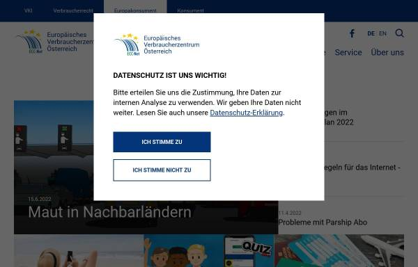 Vorschau von www.europakonsument.at, Europäische Verbraucherberatungsstelle des VKI
