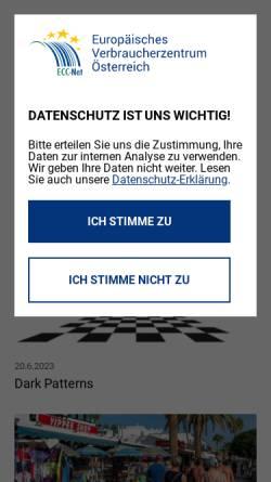 Vorschau der mobilen Webseite www.europakonsument.at, Europäische Verbraucherberatungsstelle des VKI