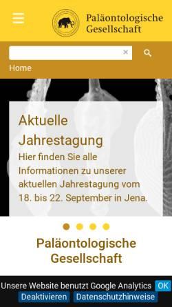 Vorschau der mobilen Webseite www.palges.de, Paläontologische Gesellschaft