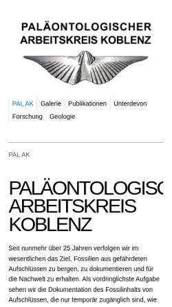 Vorschau der mobilen Webseite www.unterdevon.de, Paläontologischer Arbeitskreis, Koblenz, Mittelrhein
