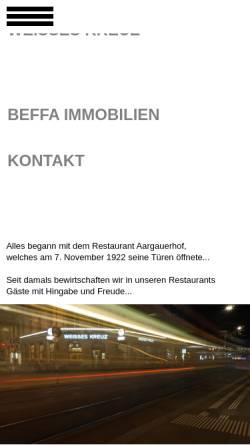 Vorschau der mobilen Webseite www.beffa-gastro.ch, Beffa Gastrobetriebe
