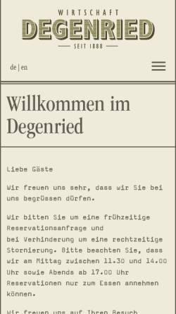 Vorschau der mobilen Webseite www.degenried.ch, Restaurant Degenried