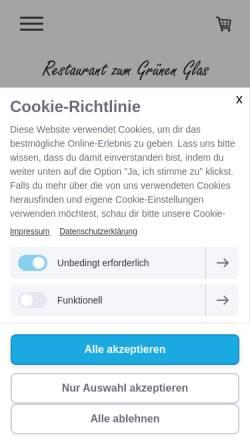 Vorschau der mobilen Webseite www.gruenesglas.ch, Zunfthaus Zum Grünen Glas
