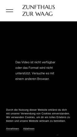 Vorschau der mobilen Webseite www.zunfthaus-zur-waag.ch, Zunfthaus zur Waag