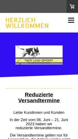 Vorschau der mobilen Webseite www.tierundsport.ch, Tier und Sport GmbH