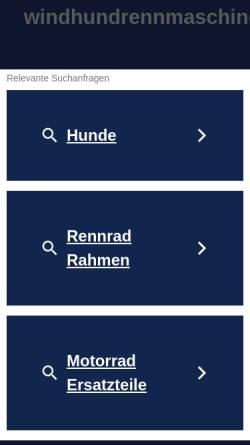 Vorschau der mobilen Webseite www.windhundrennmaschinen.de, Windhundrennmaschinen